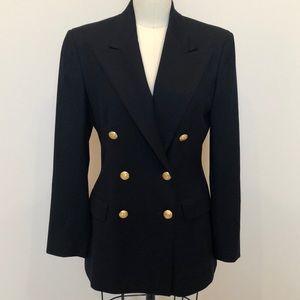 Ralph Lauren Double Breasted Navy 100% Wool Blazer